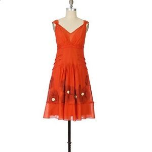 Anthropologie Floreat Poppy Fields chiffon dress